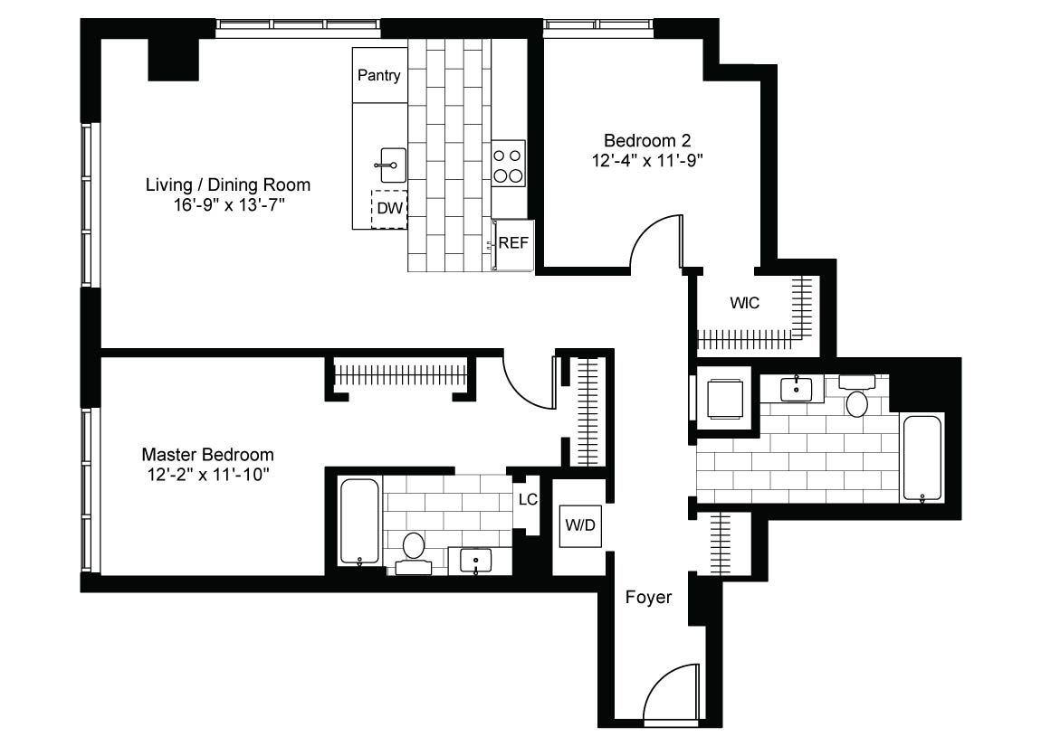 Corner 2 Bedroom  2 Bath Luxury Apartment Floor Plan. Luxury Corner 2 Bedroom  2 Bath Apt for Rent in Downtown