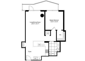 1 BR, Terrace Luxury Apartment Floor Plan