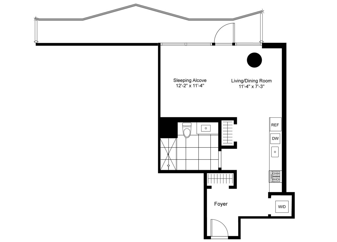 Studio, Terrace Luxury Apartment Floor Plan