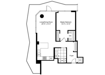 1 BR, corner, Terrace Luxury Apartment Floor Plan