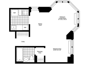 Alcove Studio, 1 Bath, Corner Luxury Apartment Floor Plan
