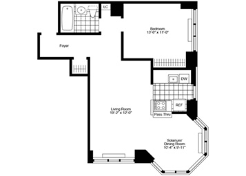 1.5 Bedroom, 1 Bath, Corner Luxury Apartment Floor Plan