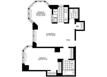 1.5 Bedroom, 1.5 Bath, Corner Luxury Apartment Floor Plan