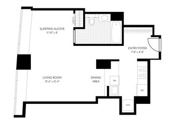 This open studio floor plan with large, double pane windows overlook Mission Street. The apartment features brand new hardwood floors throughout, new hardware and a W/D. The newly remodeled gourmet kitchen includes a white quartz counter with a full-height Calacutta marble backsplash, wood cabinetry with soft close drawers, premium stainless steel appliances with integrated paneling on the dishwasher and refrigerator, under cabinet lighting, and a stainless steel undermount sink. The bathroom has a classic tile on the flooring and tub surround with plenty of medicine cabinet storage. In addition to the entry closet, the bedroom closet has custom features to maximize storage. A classic tiled bathroom is located off the foyer and includes plenty of medicine cabinet storage