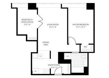 2 Bed, 1 Bath, Terrace Luxury Apartment Floor Plan