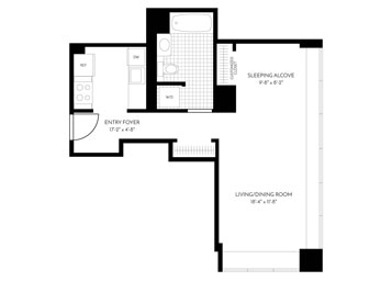 The Paramount presents this corner studio floor plan, which faces northeast and has large double pane windows. The 11th floor apartment features brand new hardwood floors throughout, new hardware and a W/D. The newly remodeled gourmet pass thru kitchen includes a white quartz counter with a full-height Calacutta marble backsplash, wood cabinetry with soft close drawers, premium stainless steel appliances with integrated paneling on the dishwasher and refrigerator, under cabinet lighting, and a stainless steel undermount sink. The bathroom has a classic tile on the flooring and tub surround with plenty of medicine cabinet storage. In addition to the entry closet, the bedroom closet has custom features to maximize storage.
