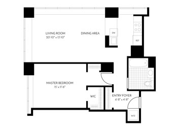 1 Bed, 1 Bath, Corner Luxury Apartment Floor Plan