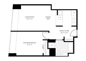 This apartment has a kitchen that opens up to the living room.  Stainless steel appliances and washer and dryer in unit.