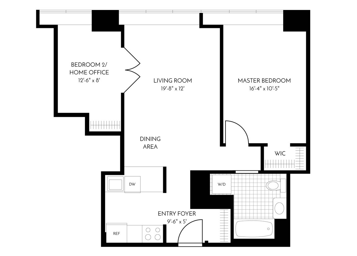 2 Bed, 1 Bath Luxury Apartment Floor Plan