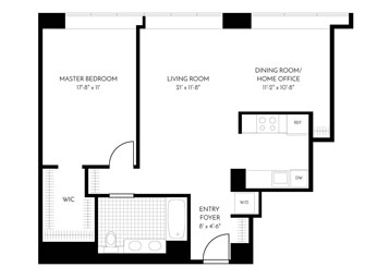 1.5 Bed, 1 Bath Luxury Apartment Floor Plan