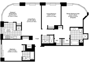 3 Bed, 3 Bath, Corner Luxury Apartment Floor Plan