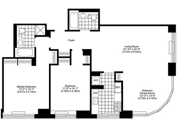 2.5 Bed, 2 Bath, Corner Luxury Apartment Floor Plan