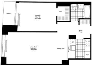 1 Bed, 1 Bath, Terrace Luxury Apartment Floor Plan
