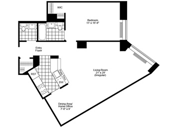 1.5 Bed, 1.5 Bath Luxury Apartment Floor Plan