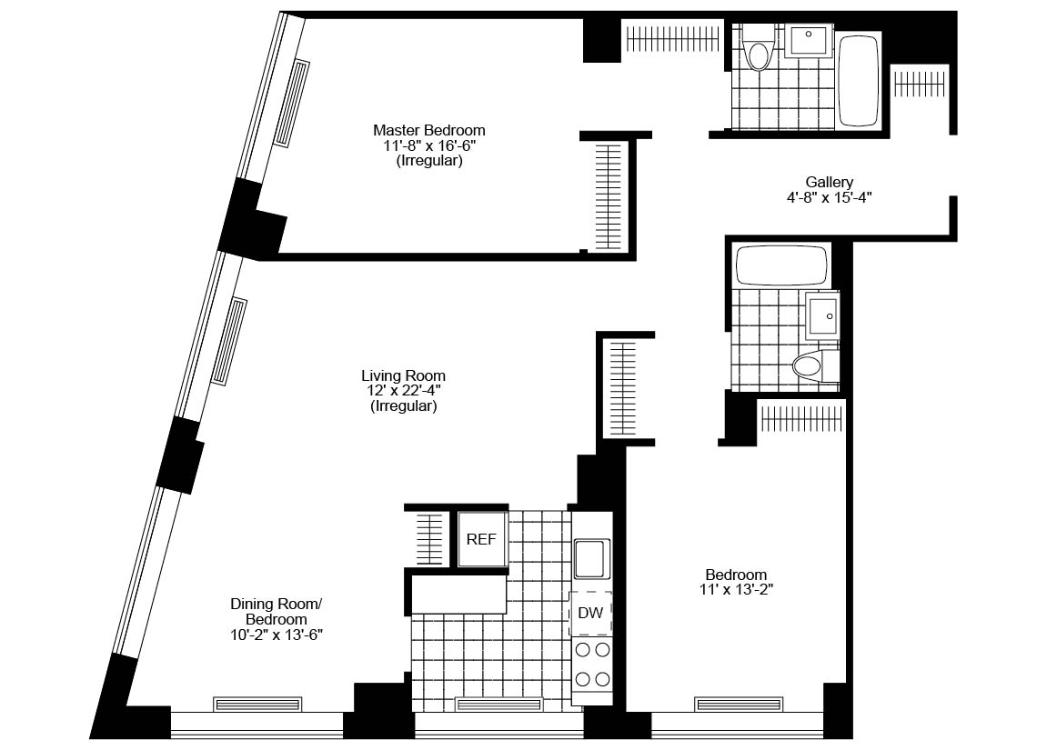 2 Bed, 2 Bath, Corner Luxury Apartment Floor Plan