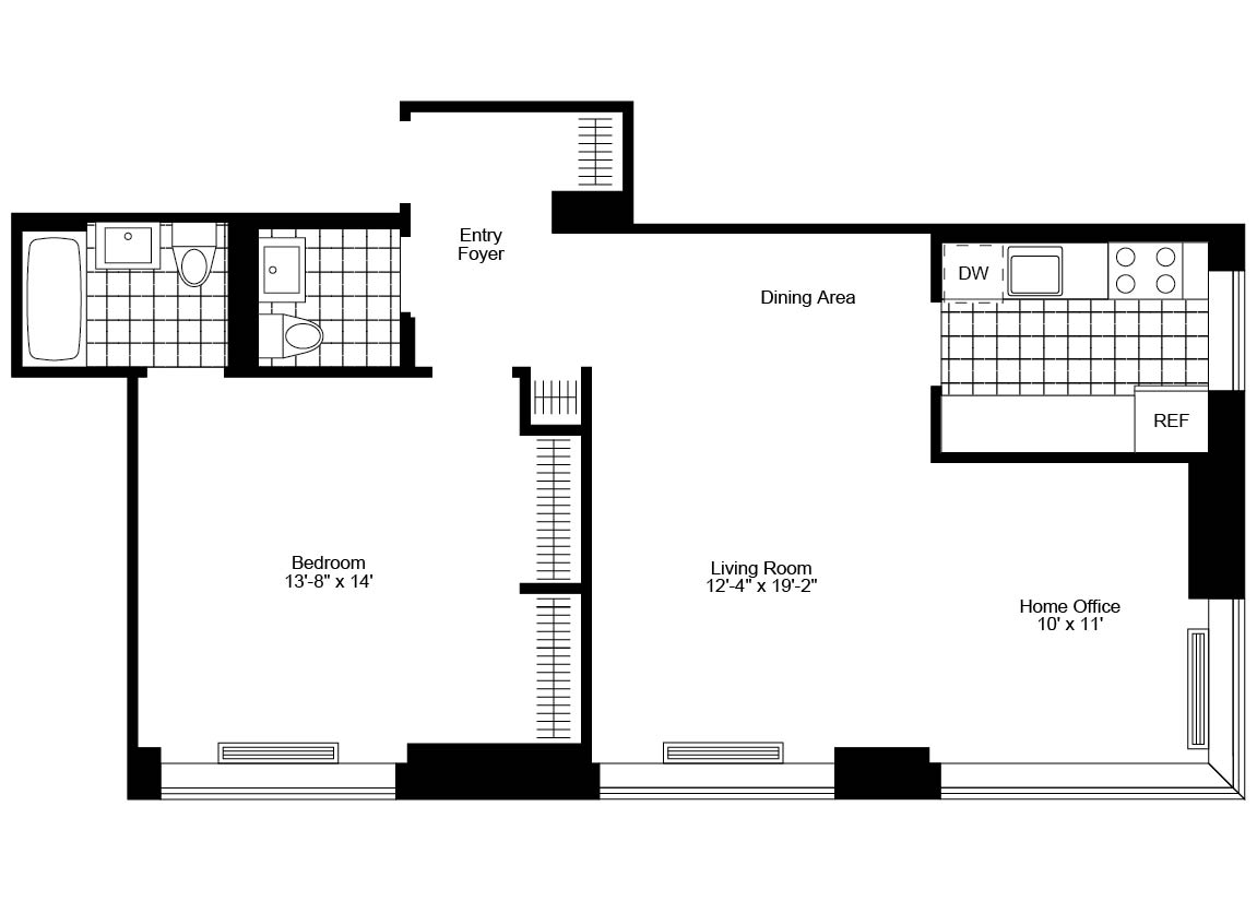 1.5 Bed, 1.5 Bath, Corner Luxury Apartment Floor Plan