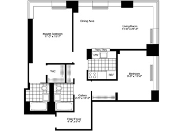 This unique One bedroom has two full bathrooms featuring western, northern, and eastern exposure, open kitchen with plenty of cabinet space and high ceilings. This unit also features brand new plank wood floors, updated SS appliances, & solar blinds, and a walk-in closet.