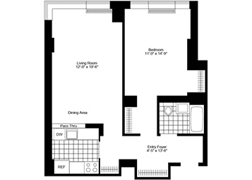 """Large 1 Bedroom/1 Bathroom with north/west exposure, beautiful plank strip-wood flooring, with floor to ceiling solarium windows, great light, spacious """"pass-thru"""" kitchen, and great closet space."""