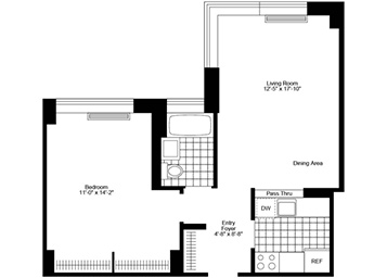 Corner 1 Bedroom, 1 Bathroom apartment featuring northern exposure, a pass-through kitchen, and good closet space.