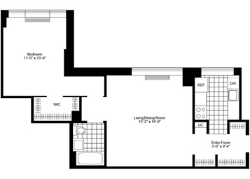 1 Bedroom, 1 Bath Luxury Apartment Floor Plan