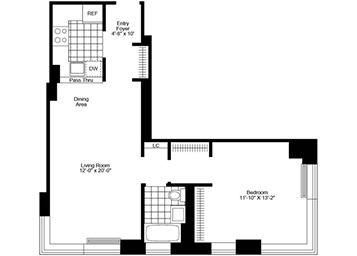 1 Bedroom, 1 Bath, Corner Luxury Apartment Floor Plan