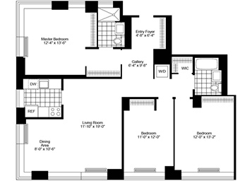 Beautiful 3 Bedroom, 2 Bathroom apartment with western & southern exposure, with views of the Manhattan skyline and The Hudson River. Windowed closed-kitchen with an updated kitchen including stainless steel appliances, plenty of closets, strip-wood flooring, and an in-home washer/dryer.Inquire about a free butler during your lease term!
