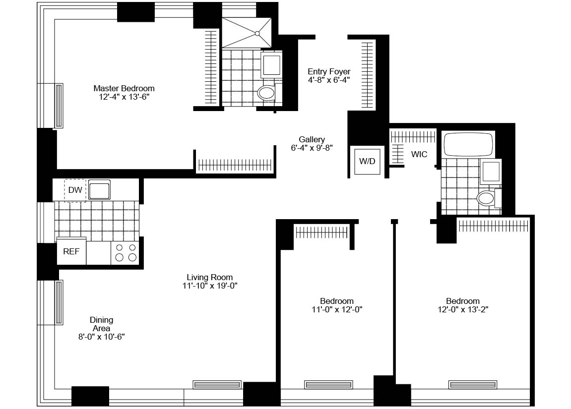 3 Bedroom, 2 Bath, Corner Luxury Apartment Floor Plan