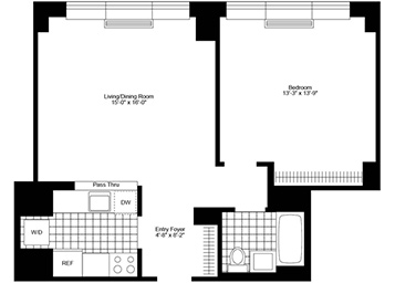 "Pent House 1 Bedroom/1 Bathroom, with western exposure, high ceilings (12ft), in-home washer & dryer, good closet space, ""pass-thru"" kitchen and floor to ceiling windows"