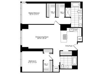 2 Bedroom, 2 Bathroom Luxury Apartment Floor Plan