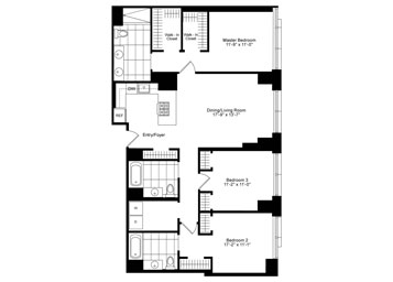 3 Bedroom, 3 Bath Luxury Apartment Floor Plan