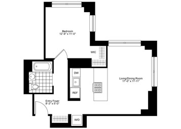 One of a kind corner 1 Bedroom, 1 Bathroom apartment featuring an open gourmet kitchen with stainless steel appliances, custom walk-in closet, custom solar shades, and an in-home washer and dryer.