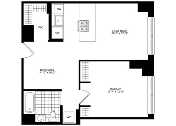 1 Bedroom, 1 Bathroom featuring South High Line views, open gourmet kitchen with stainless steel appliances, separate dining area, blackout and solar shades, custom walk-in closet, and an in-home washer and dryer.