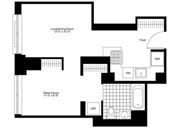 Spacious North facing Alcove Studio, 1 Bathroom apartment, an open kitchen with stainless steel appliances, in-unit washer/dryer and three over sized closets.