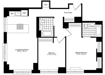 Corner 2 Bedroom, 2 Bath Luxury Apartment Floor Plan