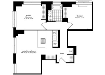 Corner 2 Bedroom, 1 Bath Luxury Apartment Floor Plan