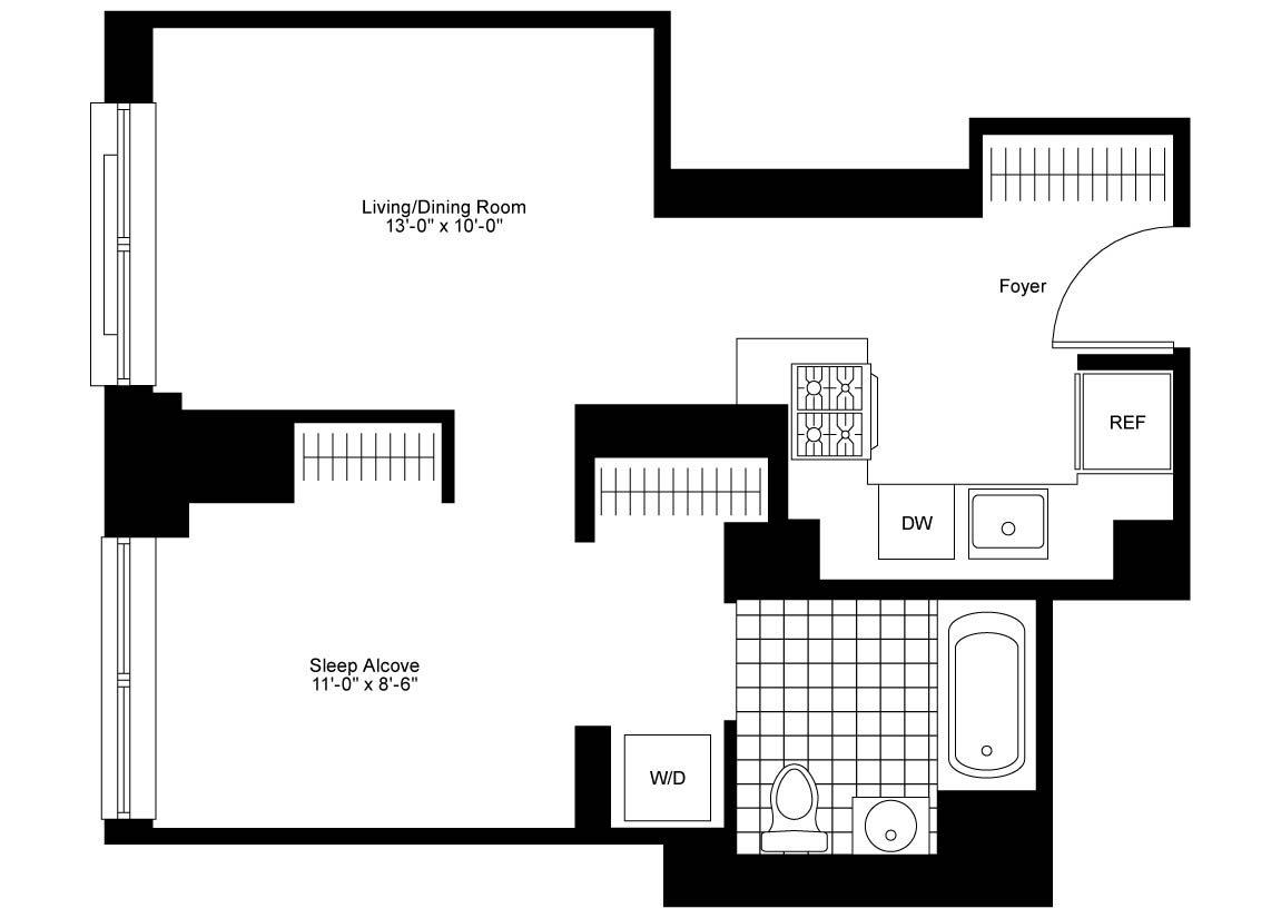 Junior 1 Bedroom, 1 Bath Luxury Apartment Floor Plan