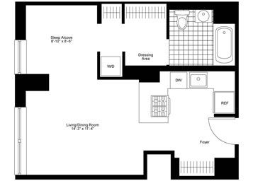 West facing Junior 1 Bedroom, 1 Bathroom apartment featuring beautiful Hudson River views, an open gourmet kitchen with stainless steel appliances, over-sized dressing area, and an in-home washer and dryer.