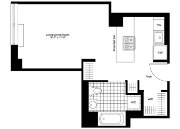 Studio apartment on a high floor featuring an open gourmet kitchen with stainless steel appliances, custom solar shades, and an in-home washer and dryer.