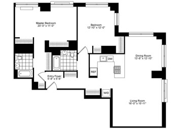 Corner 2 Bedroom, 2 Bathroom on high floor featuring North/East views, open gourmet kitchen with stainless steel appliances, dining room, oversized master bedroom and bathroom with tub and stall shower, custom solar shades, and an in-home washer and dryer.
