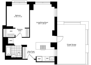 1 Bedroom, 1 Bath, Corner, Terrace Luxury Apartment Floor Plan