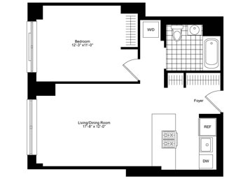 1 Bedroom, 1 Bathroom apartment featuring northern exposure, hardwood floors, a gourmet kitchen, and an in-home washer and dryer.