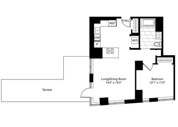 A one-of-a-kind corner 1 Bedroom, 1 Bathroom apartment featuring a private terrace, lofty 10-foot ceilings, gourmet kitchen with top-of-the-line appliances and imported marble, custom bathroom vanities, double-paned windows and in-home washer and dryer.