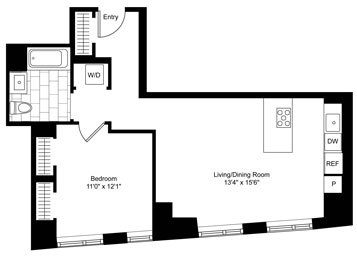 1 Bed, 1 Bath Luxury Apartment Floor Plan