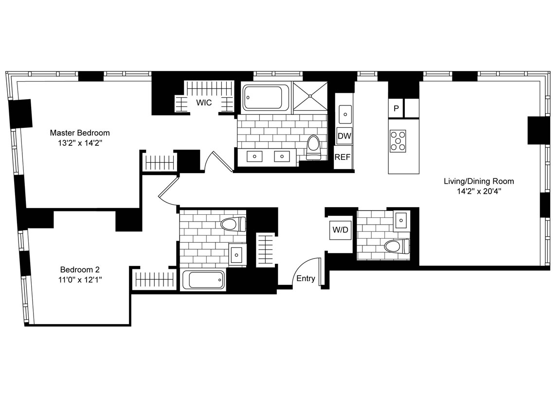2 Bedroom, 2.5 Bath Luxury Apartment Floor Plan