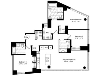 Large 3 Bedroom, 3 Bathroom apartment with northern, eastern and southern exposure. Featuring floor-to-ceiling windows with grey wood floors throughout. An open kitchen plan with Miele appliances and in-unit wine fridge and espresso machine, imported marble kitchens and bathrooms with heated floors, great closet space. Spacious and airy unit with vented kitchens and in-home washer and dryers.