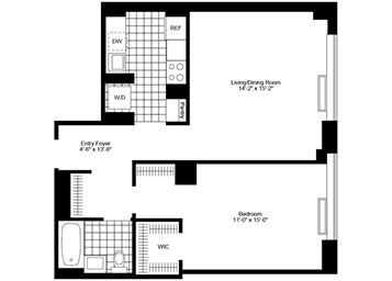1 Bedroom, 1 Bathroom apartment featuring southern exposure, new flooring, stainless steel appliances, a walk-in closet, and an in-home washer and dryer.