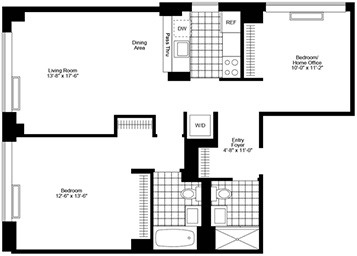 Corner JR4 with 2 bathrooms with North/east exposure. Easy Convertible 2 bedroom. Apartment features pass thru stainless steel kitchen, wood strip flooring, in home washer & dryer, stand up shower, good closets, and solar shades.