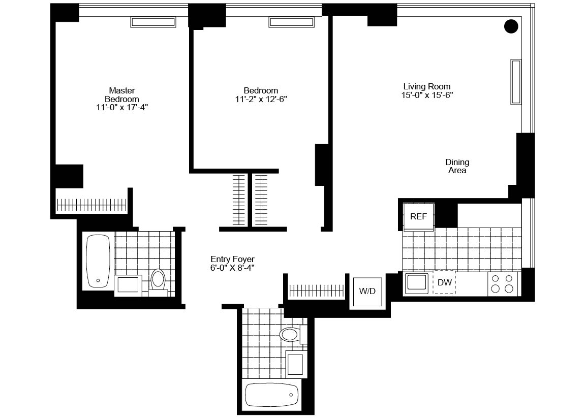 2 Bedroom, 2 Bath, Corner Luxury Apartment Floor Plan