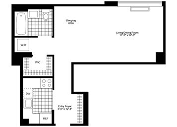Studio with eastern exposure. Apartment features extra high ceiling, walk in closet, stainless steel kitchen, wood strip flooring, marble bathroom, in home washer & dryer and solar shades.