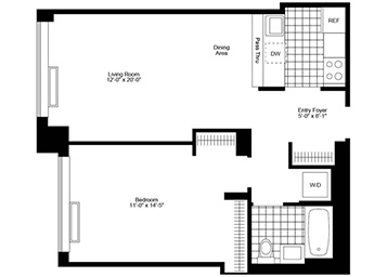 High floor 1 bedroom 1 bathroom with northern exposure. Apartment features pass thru stainless steel kitchen, in home washer & dryer, wood strip flooring, great closets, and solar shades.